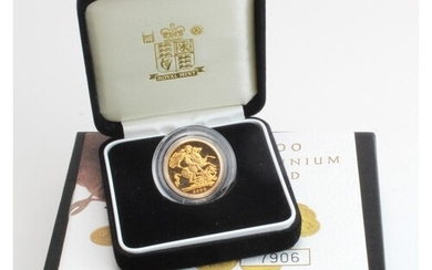 Sovereign 2000 Proof FDC boxed as issued