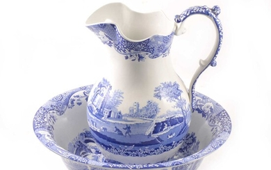 Spode pottery jug and bowl, Italian pattern