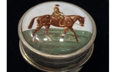 Sterling Silver 925 Pill Box enameled with a Horse and rider...