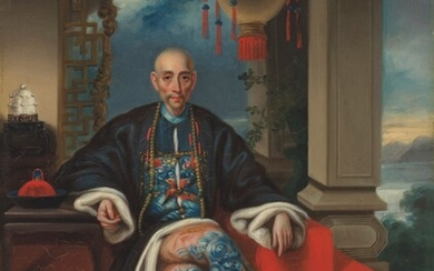 Studio of Tingqua (1809-1870), Portraits of Howqua and Mowqua, seated small full length in dragon robes, Chinese coastal landscapes beyond