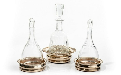 THREE SILVERPLATE COASTERS WITH GLASS DECANTERS