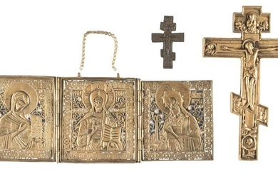 TWO BRASS CRUCIFIXES AND A TRIPTYCH SHOWING DEISIS