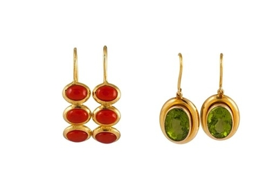 TWO PAIRS OF EARRINGS, set with coral and peridot, with shep...