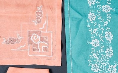Table linen in green thread with flower embroidered...
