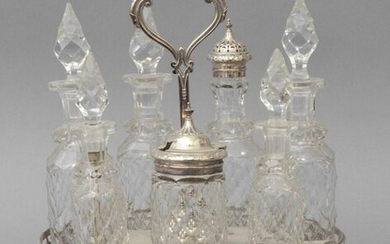 Table set in silver metal and crystal England sec.XX and pair of candlesticks in silver metal