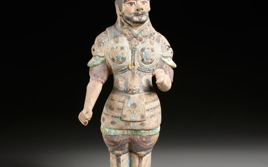 Tang era painted pottery figure of a soldier