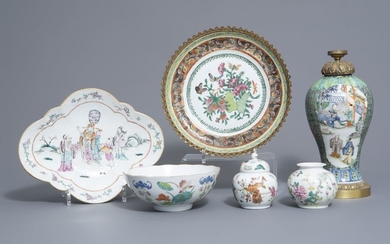 Three Chinese famille rose vases, two bowls and...