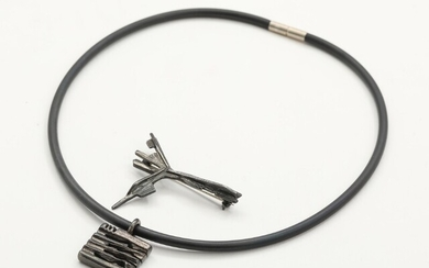 """NOT SOLD. Toftegaard: An oxidised sterling silver"""" Ygdrasil"""" brooch and pendant. Kautschuk rubber and sterling..."""