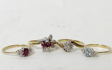 Two ruby and diamond rings, a diamond cluster ring and an aq...