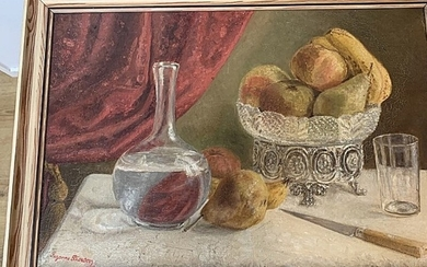 Unknown artist: Still life with fruits on a table. Indistinct signed 1908. Oil on canvas. 37.5×54.5. Frame size 43.5×62 cm.