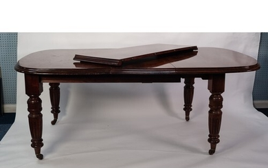 VICTORIAN MAHOGANY WIND-OUT EXTENDING DINING TABLE WITH TWO ...