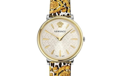 "Versace - V-Circle Tribute Edition Watch Stainless Steel Printed Leather Strap Swiss Made - VBP120017 ""NO RESERVE PRICE"" - Women - Brand New"