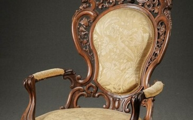 Victorian Rococo Style Laminated Rosewood Armchair Attributed to the Workshop of Joseph Meeks & Sons, New York, Circa 1855