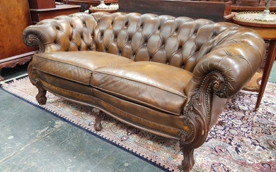Victorian Style Brown Leather 2-Seater Chesterfield Style Lounge, with loose cushions, carved fascia & cabriole legs