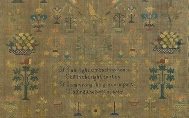 Victorian needle work sampler by Susanah Clark aged 12