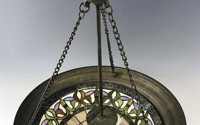 Vintage Ceiling Light, Stained Glass Shade