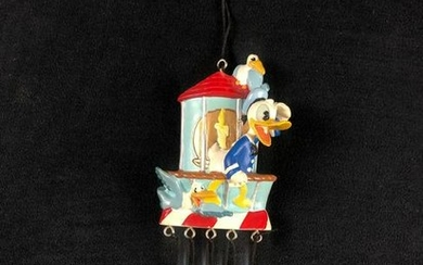 Vintage Donald Duck Wind Chime Lighthouse Seagulls Walt