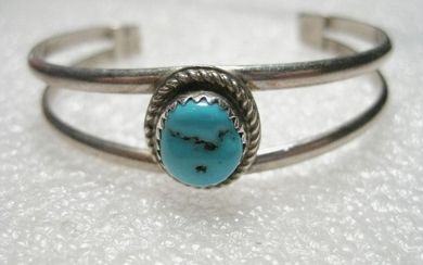 Vintage Sterling Silver Youth Cuff Bracelet, Sawtooth
