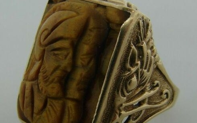 WOW 10k Yellow Gold & Carved Tiger Eye Ring