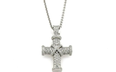 18Kt White Gold Theo Fennell Diamond Cross Necklace