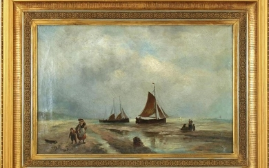 With signature A J van Prooijen, Coastal view with