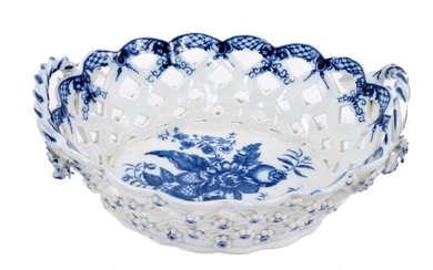 Worcester oval basket, printed in blue with the pinecone pattern circa 1770