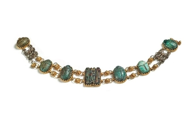 Yellow gold and steatite bracelet made of beetles....