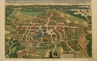 1593 Braun and Hogenberg Birds Eye View of Odense,
