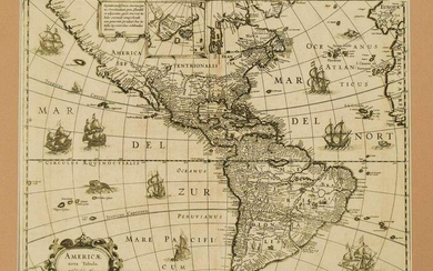 1631 c. Blaeu Map of the Americas -- Americae Nova