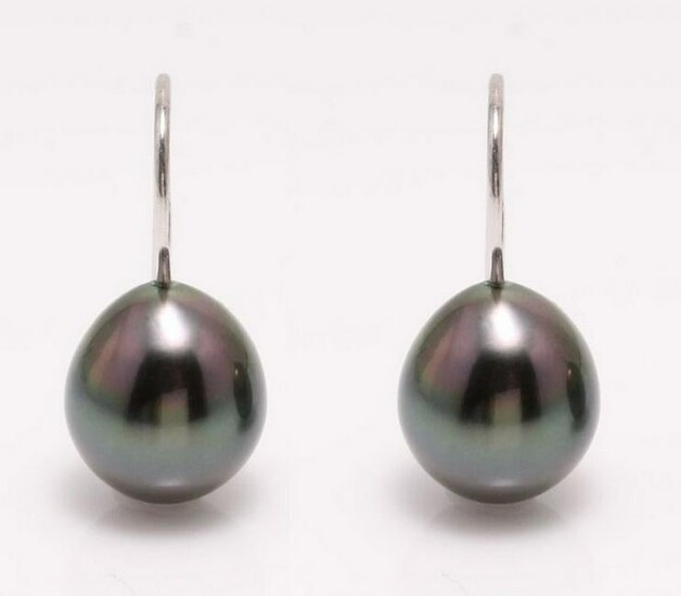 18 kt. White Gold - 9x10mm Peacock Tahitian Pearl Drops