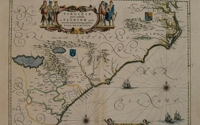 1839 Jansson Map of US Southeast from Virginia to