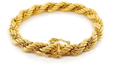18ct yellow gold rope twist chain bracelet marked 750 to box...