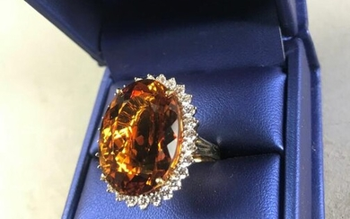 18k Yellow Gold, Citrine and Diamond Ring