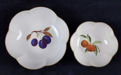 1961 Vintage Evesham Scalloped Bowls With Fruits Lot of