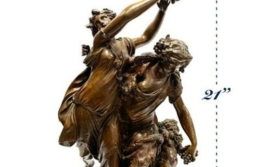 19th C. French Bronze Sculpture Bacchantes Dancing