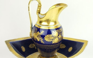 19th C. Sevres Style Large Urn w/ Underplate