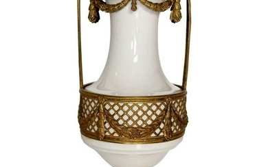 19th Century French Porcelain Vase with Bronze Trim