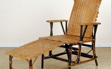 ADJUSTABLE FRENCH RATTAN CHAISE LOUNGE C.1910