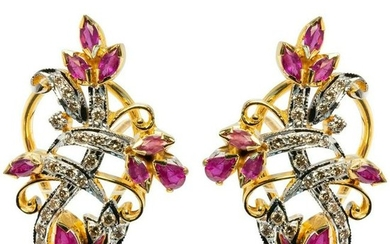 22K Gold Natural Ruby Diamonds Earrings