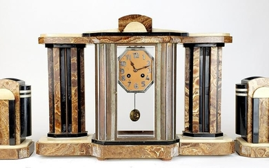 3 Pc. Marble Art Deco Clockset, Circa 1940