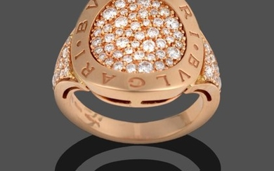 A Diamond Ring, by Bulgari, a circular raised border engraved...