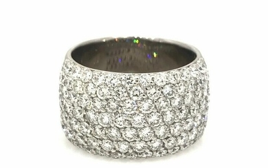 3.77 cts Wide Diamond Cocktail Band Ring in 18k White