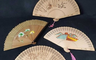 4 Hand Painted Oriental Wooden Fans