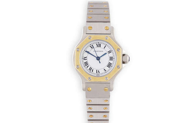 Description A LADY'S STAINLESS STEEL AND GOLD AUTOMATIC 'SANTOS'...