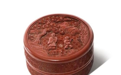A CHINESE CINNABAR LACQUER CIRCULAR BOX AND COVER …