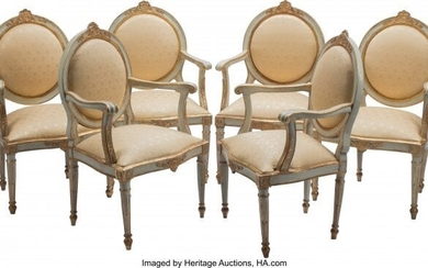 61008: A Set of Six Italian Neoclassical Partial Gilt a