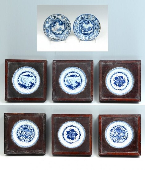 8 PC. CHINESE BLUE AND WHITE PLATES