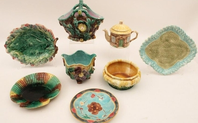 8 PC. LOT OF MAJOLICA INCLUDING ESTRUSCAN, AND CROWN