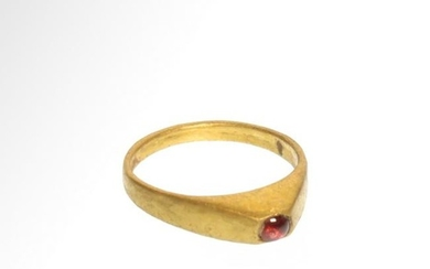 Medieval Gold and Garnet Ring, c. 12th-13th Century