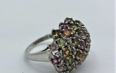 .925 Sterling Silver Cocktail Ring Multi Color Stones